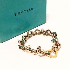 Authentic Tiffany 925 & 750 Heart Link Bracelet